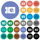 Music store discount coupon multi colored flat icons on round backgrounds Included white light and dark icon variations for hover and active status effects and bonus shades