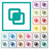 Intersect shapes flat color icons with quadrant frames on white background
