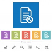 Document protect flat white icons in square backgrounds 6 bonus icons included
