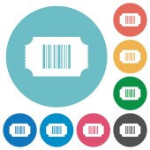 Ticket with barcode flat white icons on round color backgrounds