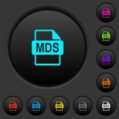 MDS file format dark push buttons with vivid color icons on dark grey background
