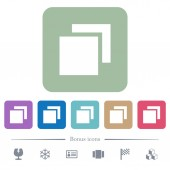 Overlapping elements white flat icons on color rounded square backgrounds 6 bonus icons included