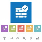 Active firewall flat white icons in square backgrounds 6 bonus icons included