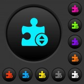 Plugin fine tune dark push buttons with vivid color icons on dark grey background
