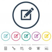 Editing box with pencil flat color icons in round outlines 6 bonus icons included
