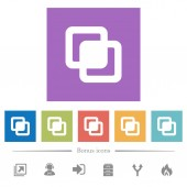 Intersect shapes flat white icons in square backgrounds 6 bonus icons included
