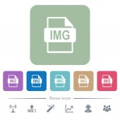 IMG file format white flat icons on color rounded square backgrounds 6 bonus icons included