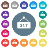 hanging table with 24h seven days a week flat white icons on round color backgrounds 17 background color variations are included