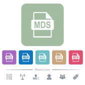 MDS file format white flat icons on color rounded square backgrounds 6 bonus icons included