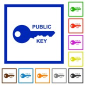 Public key flat color icons in square frames on white background