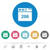 Browser 206 Partial Content flat white icons on round color backgrounds 6 bonus icons included