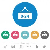 Hanging table with 24 hours flat white icons on round color backgrounds 6 bonus icons included