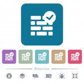 Active firewall white flat icons on color rounded square backgrounds 6 bonus icons included