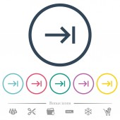 Keyboard tab flat color icons in round outlines 6 bonus icons included