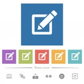 Editing box with pencil flat white icons in square backgrounds