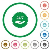 24 hours seven service sticker flat icons with outlines