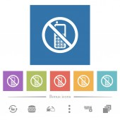 Cellphone not allowed flat white icons in square backgrounds