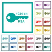1024 bit rsa encryption flat color icons with quadrant frames