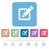 Editing box with pencil flat icons on color rounded square backgrounds