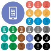 Mobile fine tune round flat multi colored icons