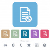 Document protect flat icons on color rounded square backgrounds