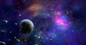 """Постер, картина, фотообои """"Пространство сцены. Красочные Туманность с планеты и астероиды. Элементы, представленной НАСА. 3D визуализация"""""""