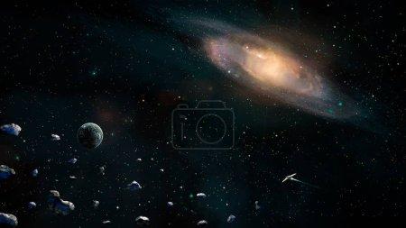 Foto de Escena de espacio. Planeta tierra con galaxias, asteroides y nave espacial. Elementos proporcionados por la Nasa. Render 3D - Imagen libre de derechos
