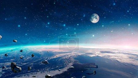Photo pour Scène spatiale. Nébuleuse colorée avec planète terre, lune et astéroïdes. Éléments fournis par la NASA. rendu 3D - image libre de droit