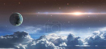 Photo pour Scène spatiale. Ciel étoilé avec nuages, planète et fusée éclairante. Éléments fournis par la NASA. rendu 3D - image libre de droit
