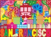 San Francisco California City Skyline with Trolley Sun Rays Golden Gate Bridge Text Paisley Pattern Color vector Illustration
