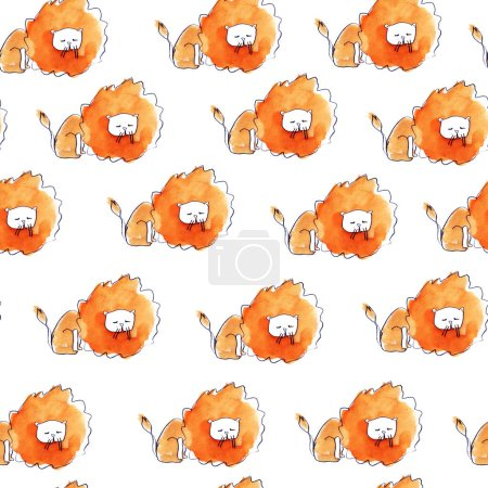 Lion. Seamless watercolor pattern. It can be used for any print.