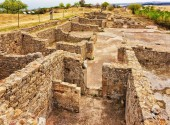 Old walls of ancient buildings in Morgantina old town archaeological site, Sicily, Italy