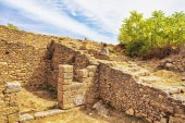 Old walls of a building in Morgantina old town archaeological site, Sicily, Italy