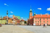 Warsaw, Poland - July 30, 2018: Sigismund Column and Royal Castle at Castle Square in the Old town of Warsaw in Poland