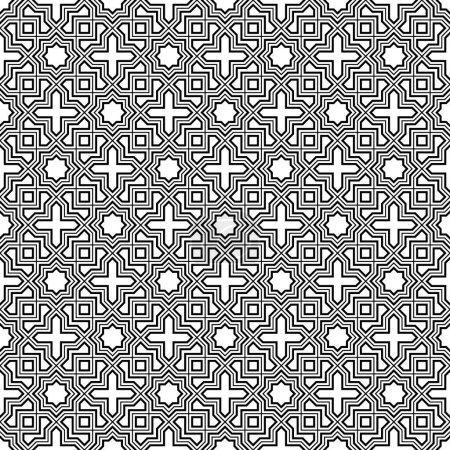 Illustration for Seamless geometric ornament based on traditional arabic art.Black lines and white background.Great design for fabric,textile,cover,wrapping paper,background.Fine and average lines. - Royalty Free Image