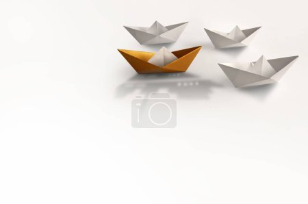 Photo for Gold paper boat with larger shadow of a cruise ship amongst other boats - Royalty Free Image