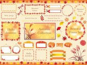 Set of assorted botanical frames in autumn coors vector illustrations