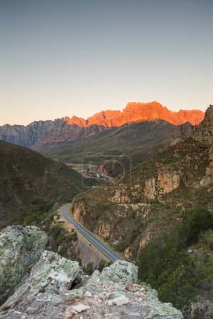 Sunset and dusk over the Du Toitskloof pass mountains in the Western Cape of South africa