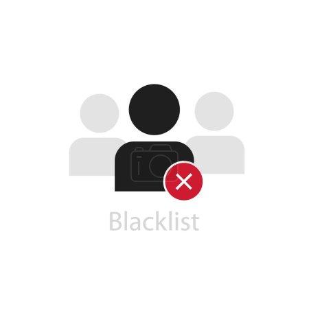 Illustration pour Personnage sur liste noire. Figure humaine noire abstraite avec symbole rouge non trouvé bloqué accès à la liste des abonnés interdit pictogramme des utilisateurs d'une connexion vectorielle non autorisée. - image libre de droit