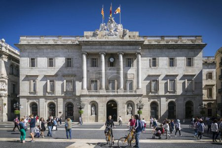 town hall landmark government building at sant jaume square in old town of barcelona spain