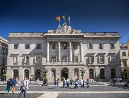 city hall building of the Catalan government at Plaza de Sant Jaume barcelona spain