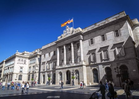 town hall building of the Catalan government at Plaza de Sant Jaume barcelona spain