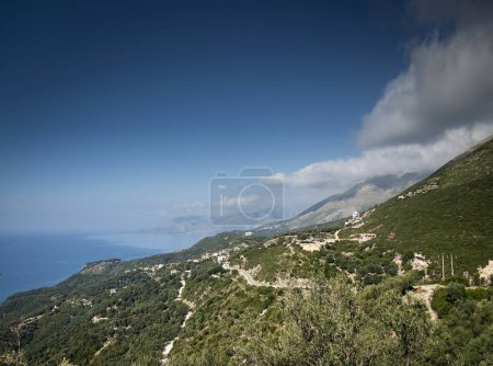 ionian mediterranean sea coast landscape of Southern Albania north of Sarande on road to Vlore
