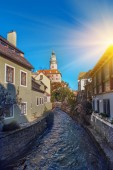 Beautiful sunset over historic centre of Chesky Krumlov old town in the South Bohemian Region of the Czech Republic on Vltava River. UNESCO World Heritage Site