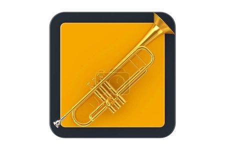 Photo pour Trompette de laiton polie comme bouton d'icône de point de contact sur un fond blanc. Rendu 3d - image libre de droit