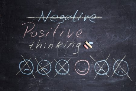 Photo for Positive thinking or Attitude and Happy Concept. Hand Drawn A Smiley Face And Sad Emotion on blackboard. - Royalty Free Image