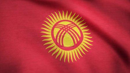 Photo pour Drapeau kirghize agitant l'animation. Drapeau sans couture du Kirghizistan. Plein écran. Symbole du pays . - image libre de droit