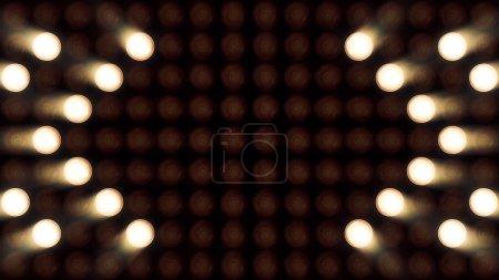 Photo pour Ultra fond Music Festival. Projecteurs lumineux d'allumer/éteindre formant des formes différentes. Ampoules d'éclairage multicolore en boucle. Lampes de projecteurs de poche. - image libre de droit