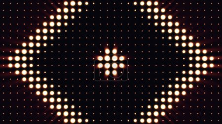 Photo for Ultra Music Festival background. Bright floodlights turning on and off forming different shapes. Multicolor lighting bulbs loop. Floodlights Flash lights. - Royalty Free Image