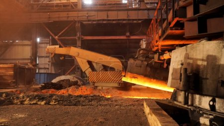 Hot metal production at the factory, metallurgy co...